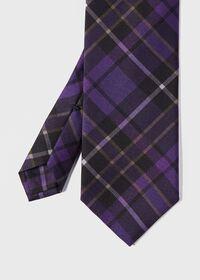 Silk Tartan Print Tie, thumbnail 1