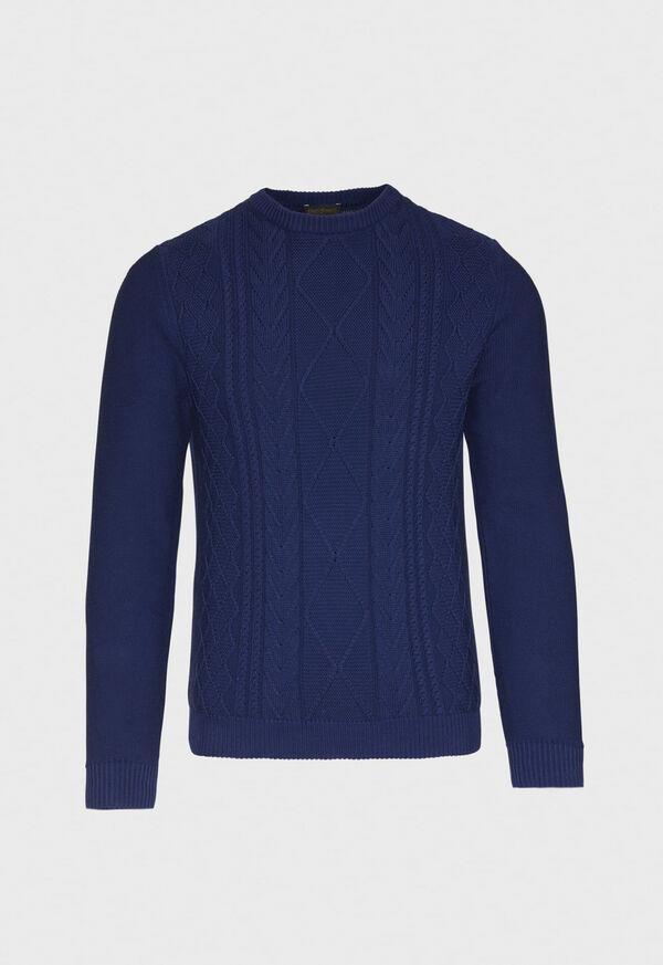 Cotton Aran Cable Crewneck Sweater, image 1