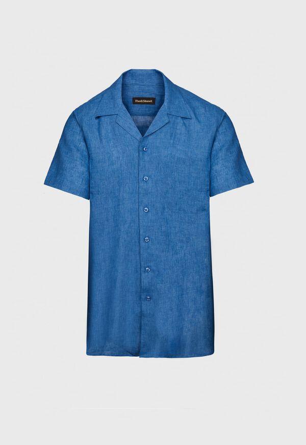 Blue Linen Camp Shirt, image 1