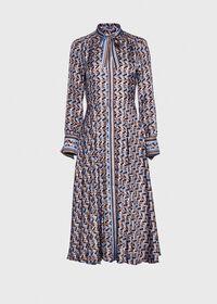 Abstract Print Silk Dress, thumbnail 1