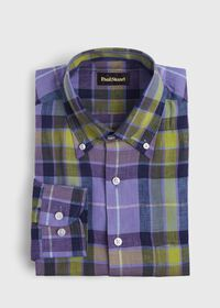Linen Multi Color Plaid Sport Shirt, thumbnail 1