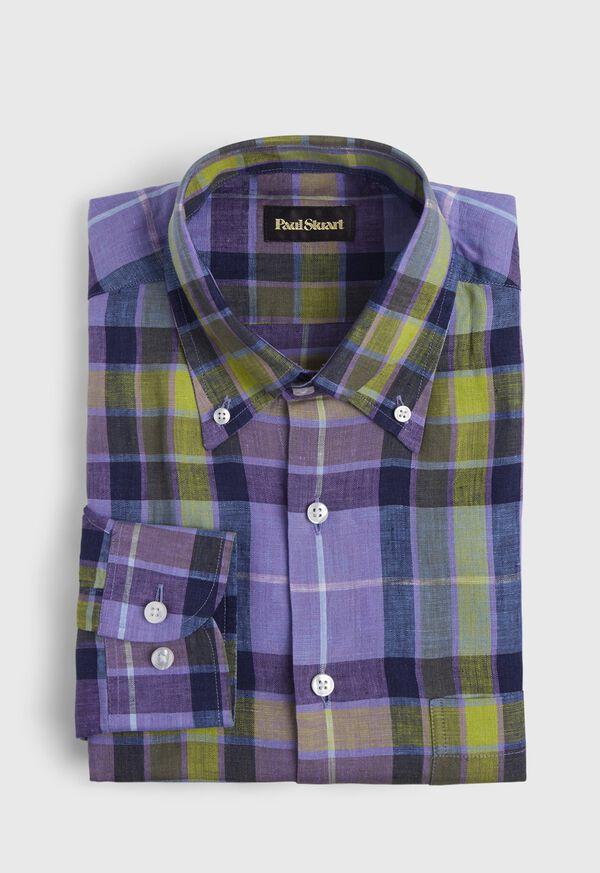 Linen Multi Color Plaid Sport Shirt, image 1