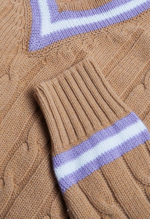 V-neck Cable Knit Sweater, image 2