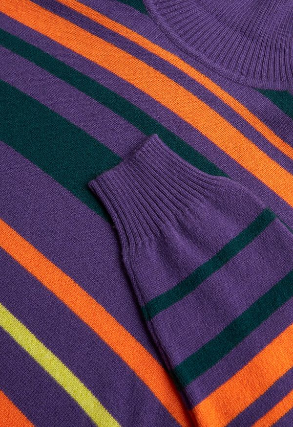Cashmere Multi Color Stripe Turtleneck, image 2