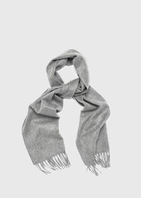 Cashmere Solid Color Scarf with Embroidered Logo, thumbnail 3