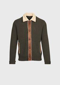 Shearling Trim Cardigan Jacket, thumbnail 1