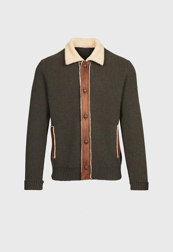 Shearling Trim Cardigan Jacket, image 1