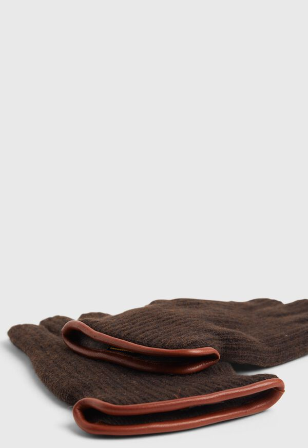 Cashmere Ribbed Glove with Leather Trim Cuff, image 2