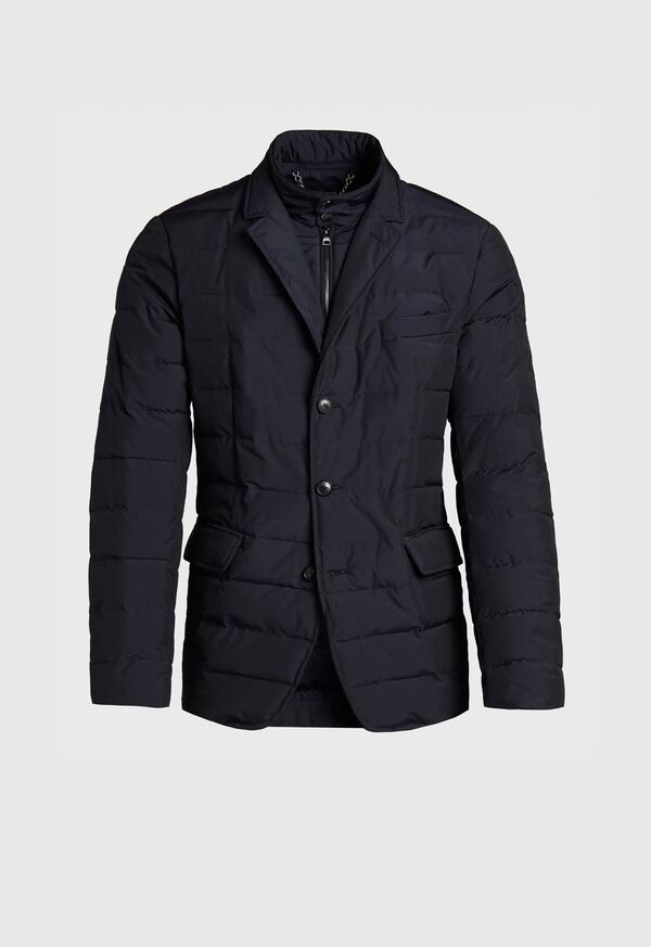 Quilted Button Front Blazer with Gilet, image 1