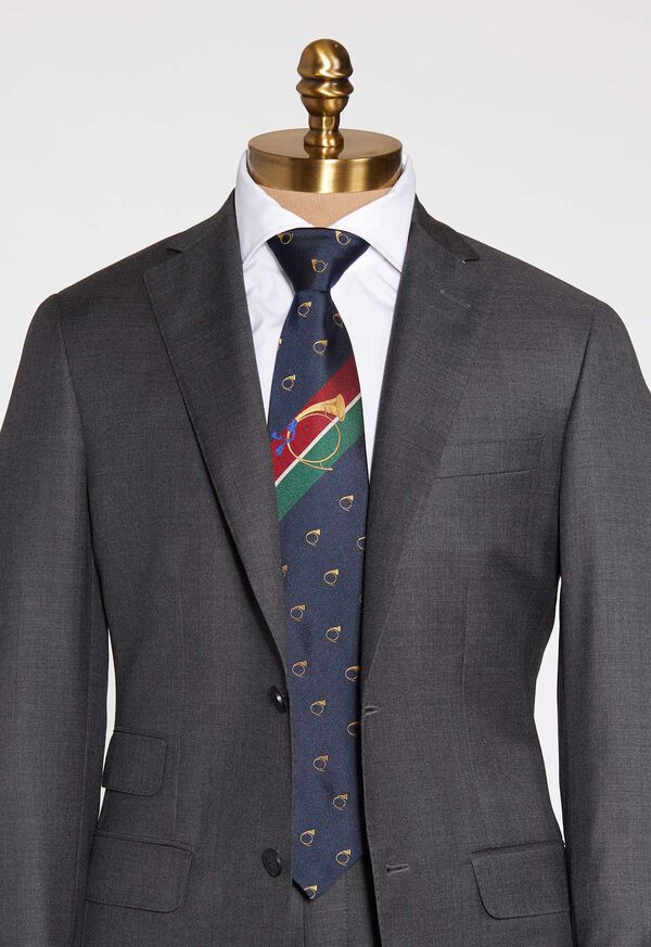 Bugle Motif Stripe Silk Tie, image 1