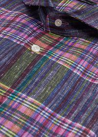 Indigo And Pink Plaid Linen Shirt, thumbnail 2