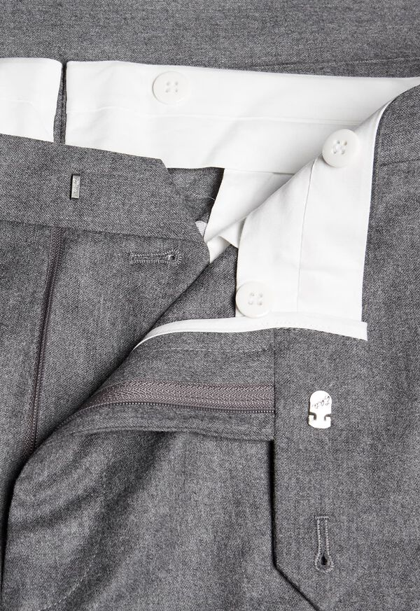 Solid Super 120s Wool Flannel Plain Front Trouser, image 2