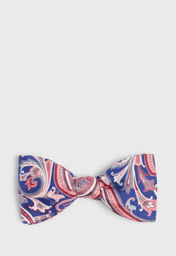 Silk and Linen Paisley Bowtie, image 1