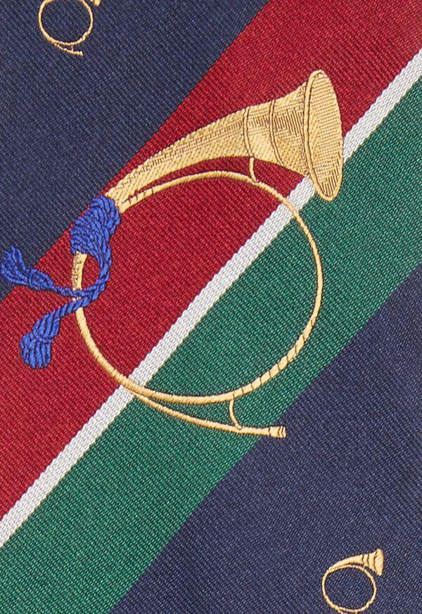 Bugle Motif Stripe Silk Tie, image 3