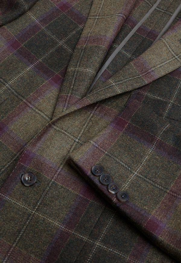Olive and Burgundy Plaid Wool Sport Jacket, image 3