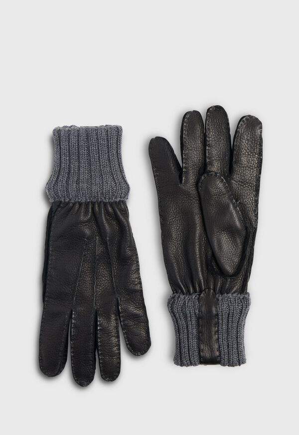 Deerskin Glove with Cashmere Ribbed Cuff, image 1