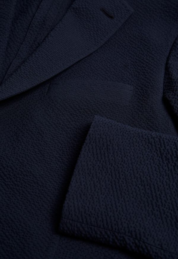 Navy Tonal Seersucker Soft Jacket, image 2