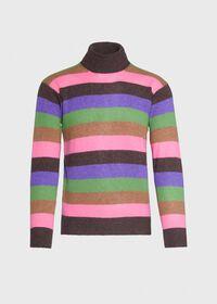Cashmere Multi-Stripe Turtleneck Sweater, thumbnail 1