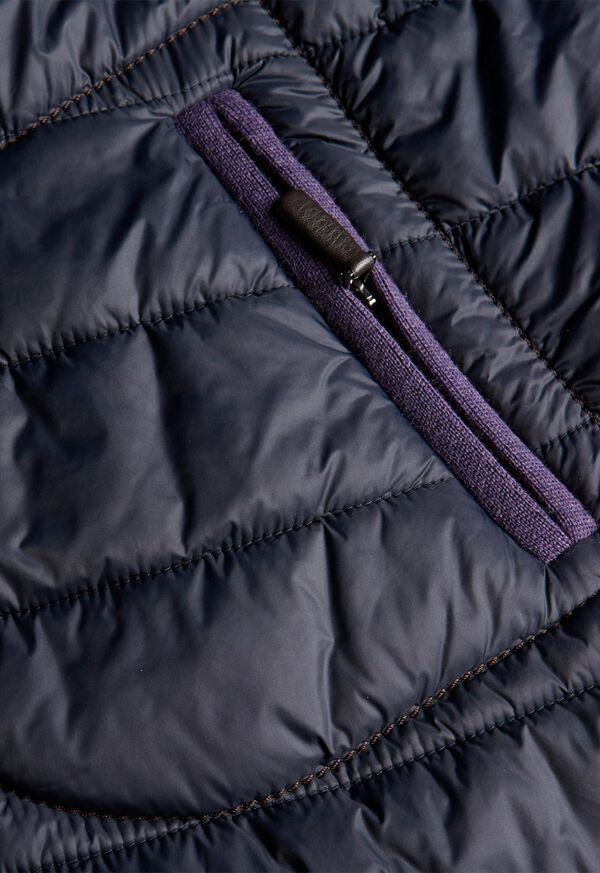 Nylon Quilted Coat With Contrast Piping, image 4