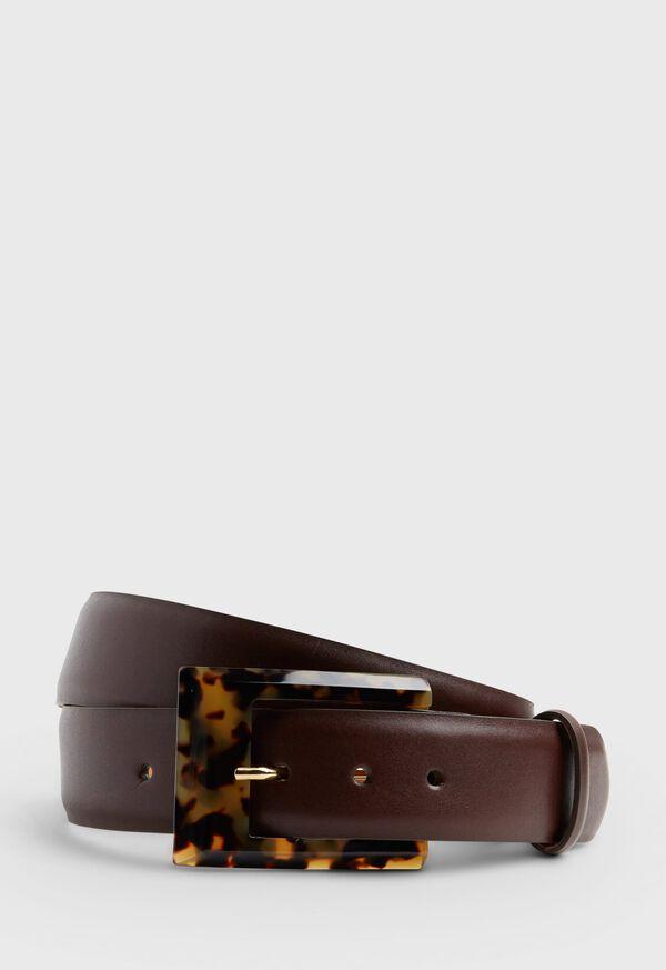 Glazed Calf Tortoise Buckle Belt, image 1