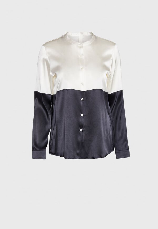 Colorblock Collarless Blouse, image 1