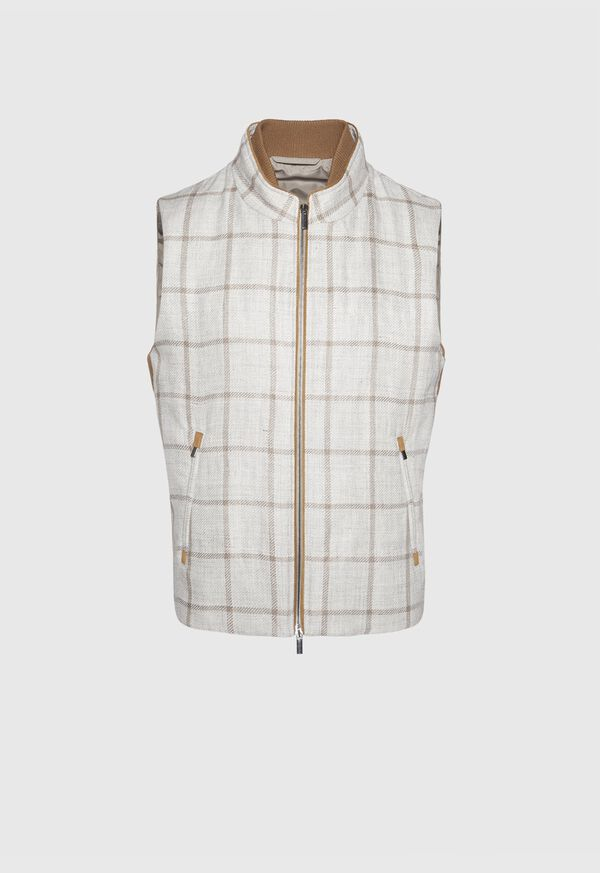 Linen Windowpane Vest with suede trim, image 1
