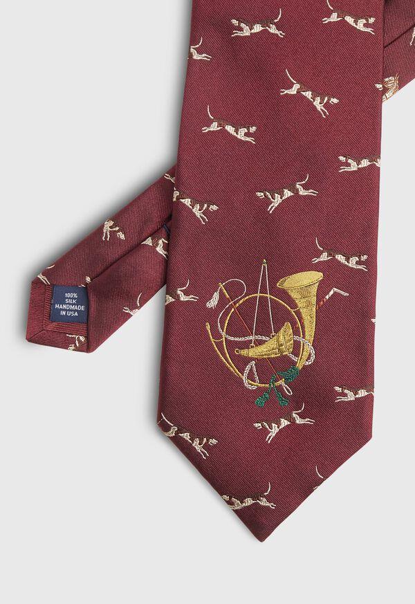Hunt Motif Silk Tie, image 1