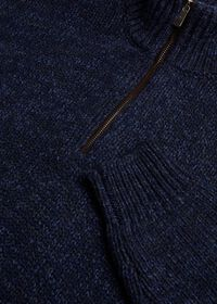 Mouline Quarter Zip with Suede Trim Sweater, thumbnail 2