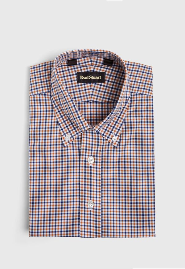 Slim Fit Gold and Navy Check Dress Shirt