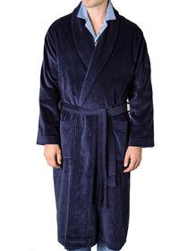 Navy Terry Cotton Velour Robe, thumbnail 1