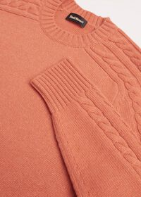 Cashmere Cable Knit Sleeve Crewneck Sweater, thumbnail 2