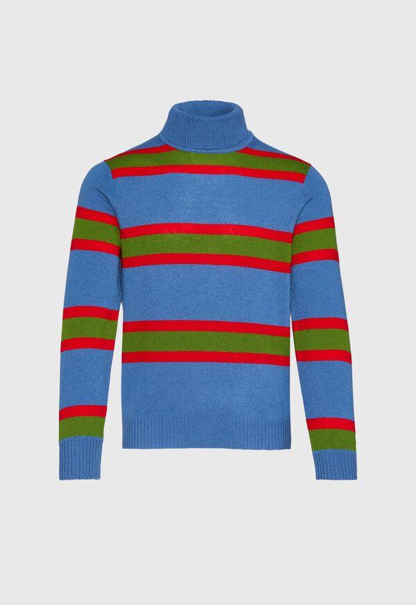 Cashmere Multi Color Stripe Turtleneck, image 1