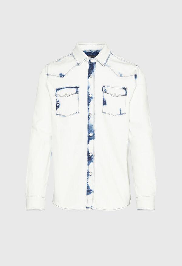 Overdyed White Western Denim Shirt, image 1