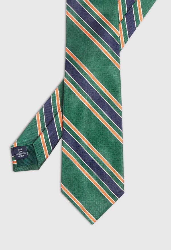 Green Deco Stripe Silk Skinny Tie, image 1
