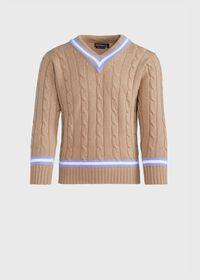 V-neck Cable Knit Sweater, thumbnail 1