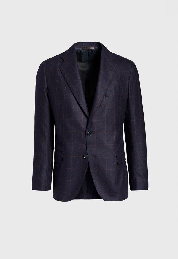 Soft Shoulder Wool Windowpane Suit, image 3