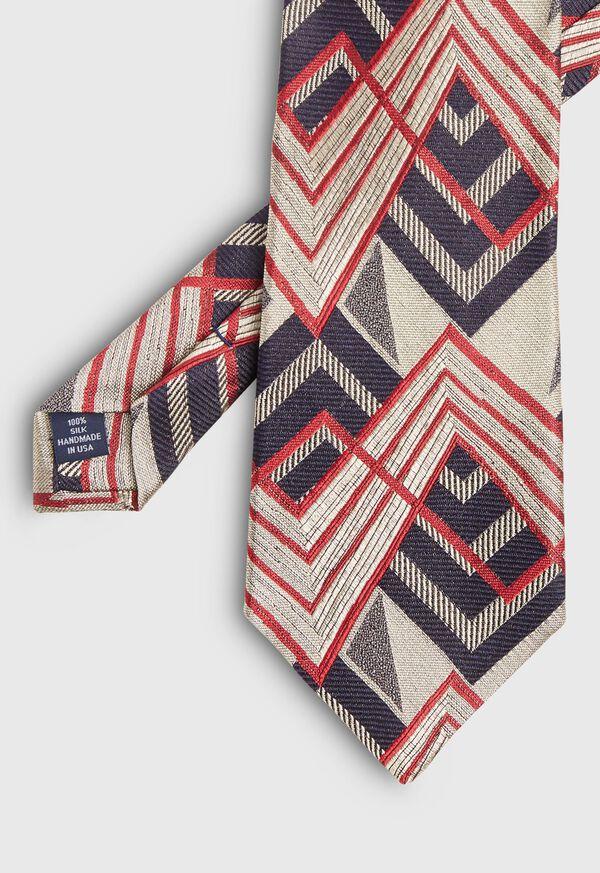 Abstract Print Deco Silk Tie, image 1