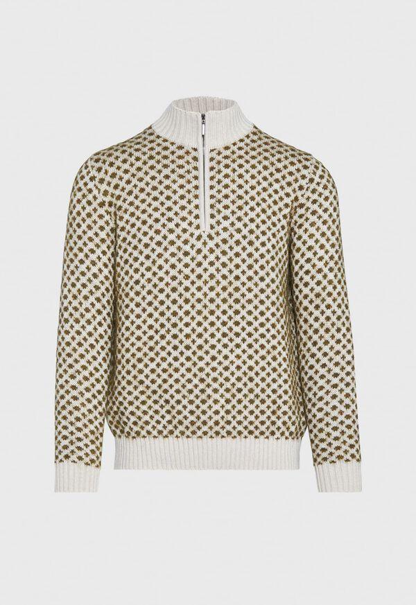 Cashmere Blend Parquet Half Zip Pullover, image 1