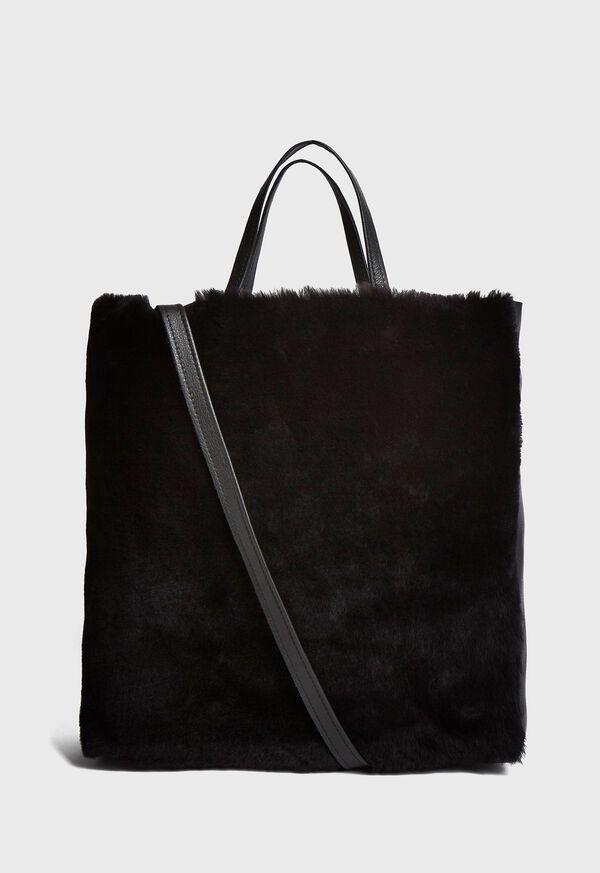 Shearling and Leather Handbag, image 1
