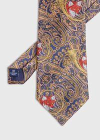 Gold Fox Horn Paisley Silk Tie, thumbnail 1