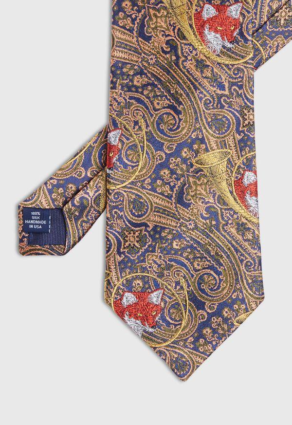 Gold Fox Horn Paisley Silk Tie, image 1
