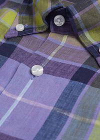 Linen Multi Color Plaid Sport Shirt, thumbnail 2