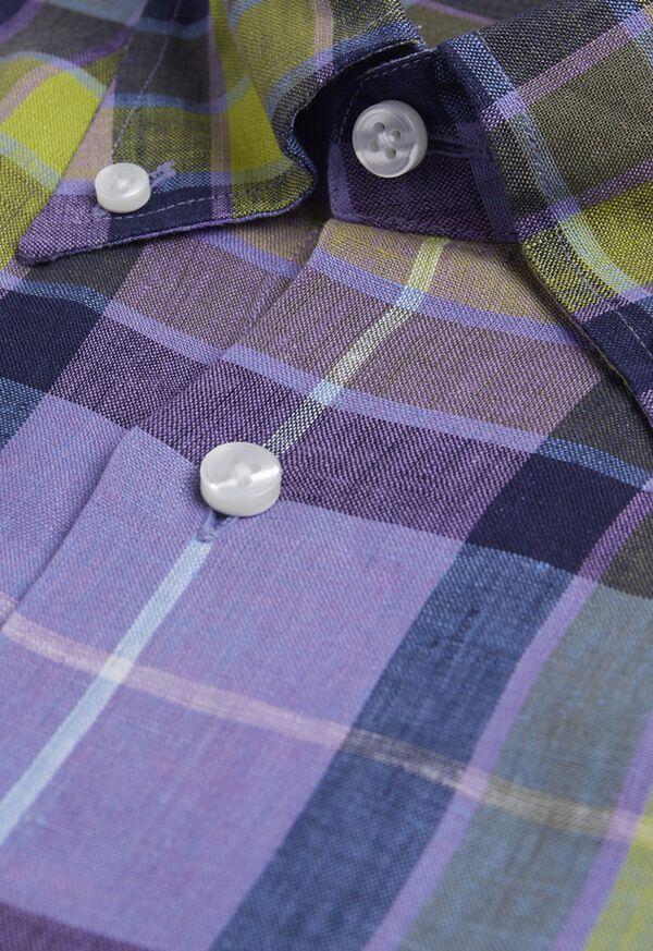 Linen Multi Color Plaid Sport Shirt, image 2
