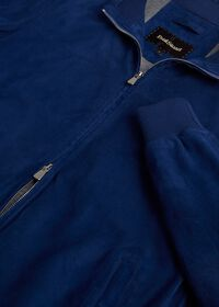 Suede Bomber Jacket with Knit Trim, thumbnail 5