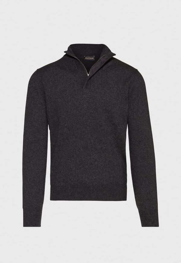 Cashmere  1/4 Zip Sweater with Suede Placket, image 1