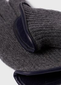 Cashmere Ribbed Glove with Leather Trim Cuff, thumbnail 2