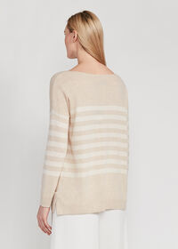 Striped Boatneck Cashmere Sweater, thumbnail 2