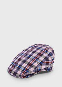 Linen Check Flat Cap, thumbnail 1