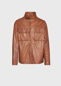 Solid Brown Napa Shirt Jacket, thumbnail 1