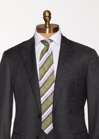 Printed Linen Stripe Tie, thumbnail 2